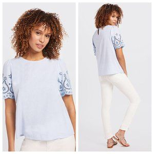 Draper James Embroidered Popover Top Blue Eyelet